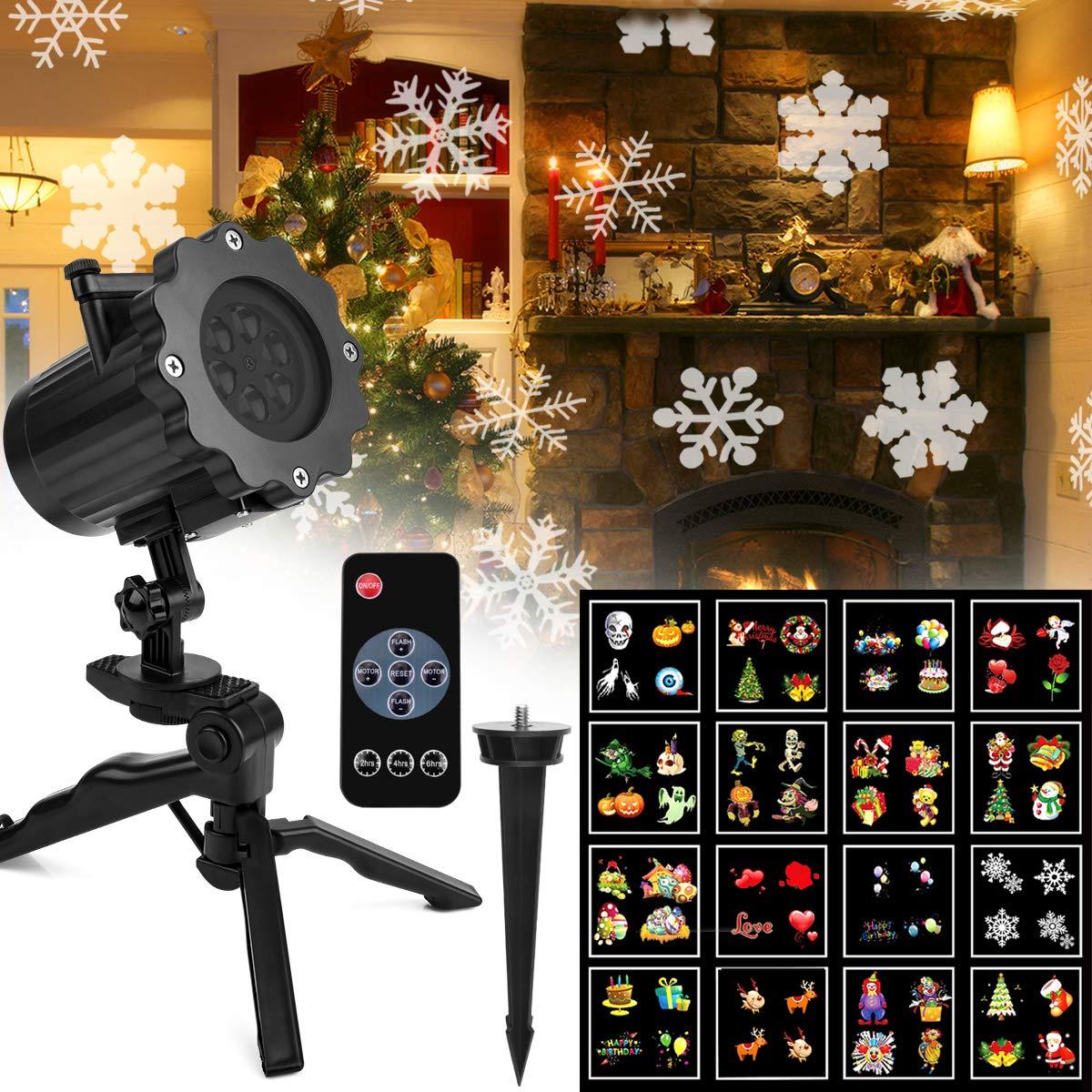 Projektor Licht Außen Fochea LED Gartenstrahler Set, LED Außen Strahler, Weihnachten LED Projektionslampe Effektlicht Projektor Lichter 16 Muster für Weihnachten Halloween Aussen Innen LED Außen Strahler