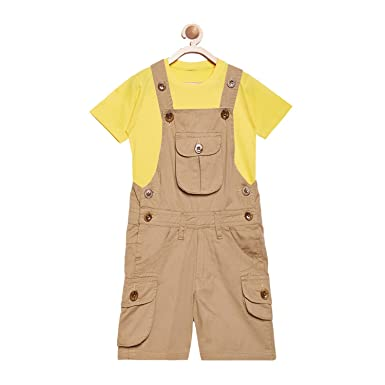d4f610f367c FirstClap Cotton Knee Length Khaki Dungaree and Yellow T-Shirt for Kids