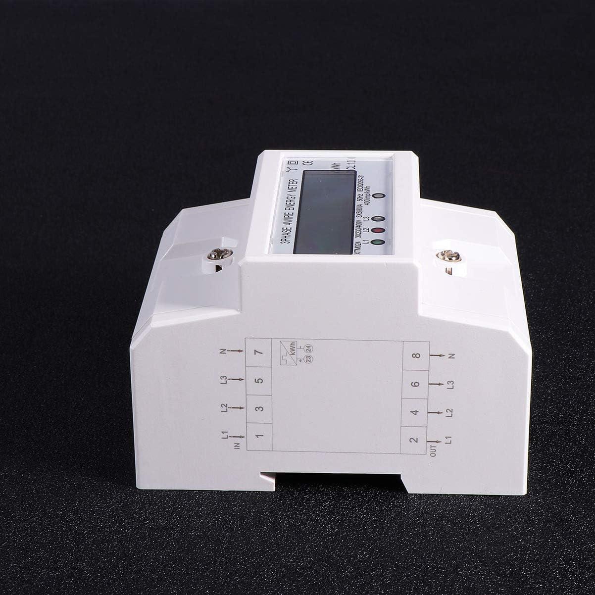 Garneck Medidor de Consumo El/éctrico Multifuncional 50Hz 5 80A Medidor de Energ/ía 3 Fases 4 Cables Monitor Din Rail para Oficina en Casa