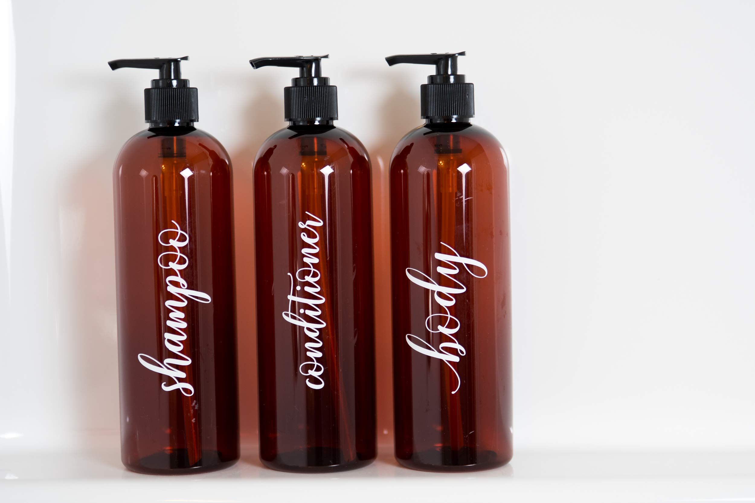 Heartland Lettering Labeled Shower Bottles Refillable, Amber Plastic Bottles with Pump 16 oz, Set of 3, Shampoo Conditioner and Body Wash Dispensers for Shower