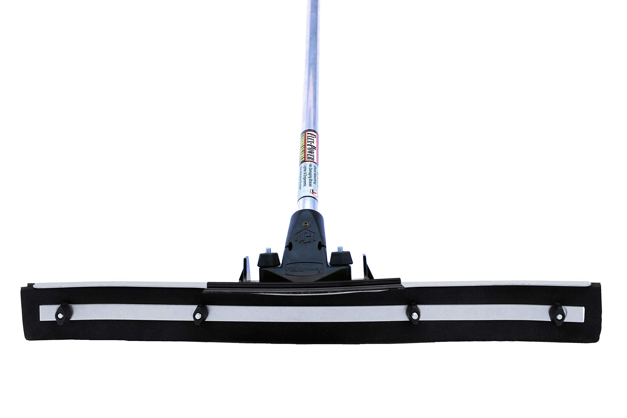 Commercial 24'' Heavy Duty Floor Squeegee by FlexSweep (Guaranteed Unbreakable Handle) New Patent Pending Easy Flip Blades That Doubles The Blade Life (Lasts Twice As Long as Other Foam Squeegees)
