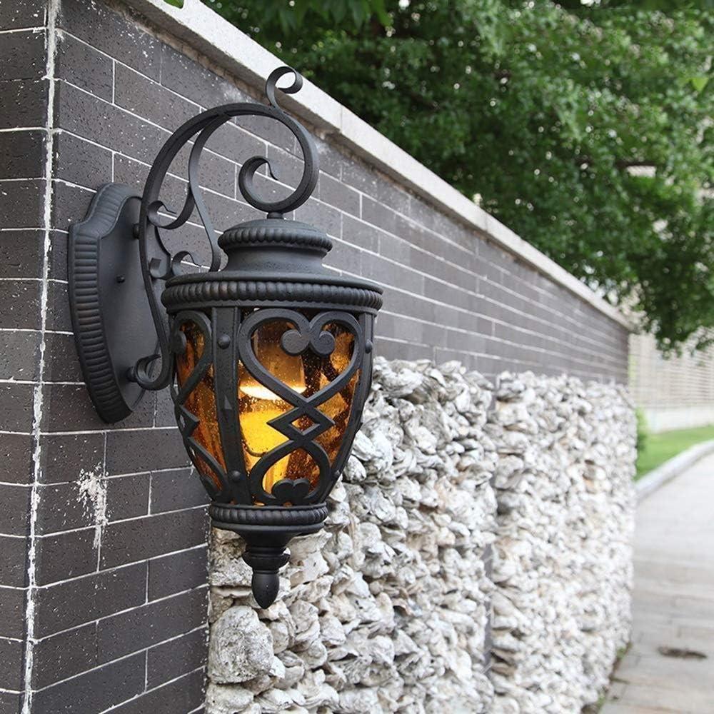 RTOFE Lámpara de Pared Impermeable IP44 luz Puerta Tablero commenta Patio Pared Exterior balcón luz Pared del Pasillo Americano Outdoor Wall Light Empotrado Black Metal Lámparas de Pared Surtidas