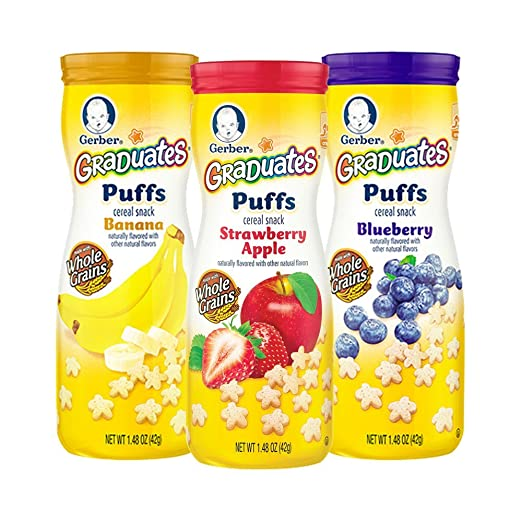 Gerber Graduates Puffs Cereal Snack, Variety Pack, Naturally Flavored with Other Natural Flavors, 1.48 Ounce, 6 Count