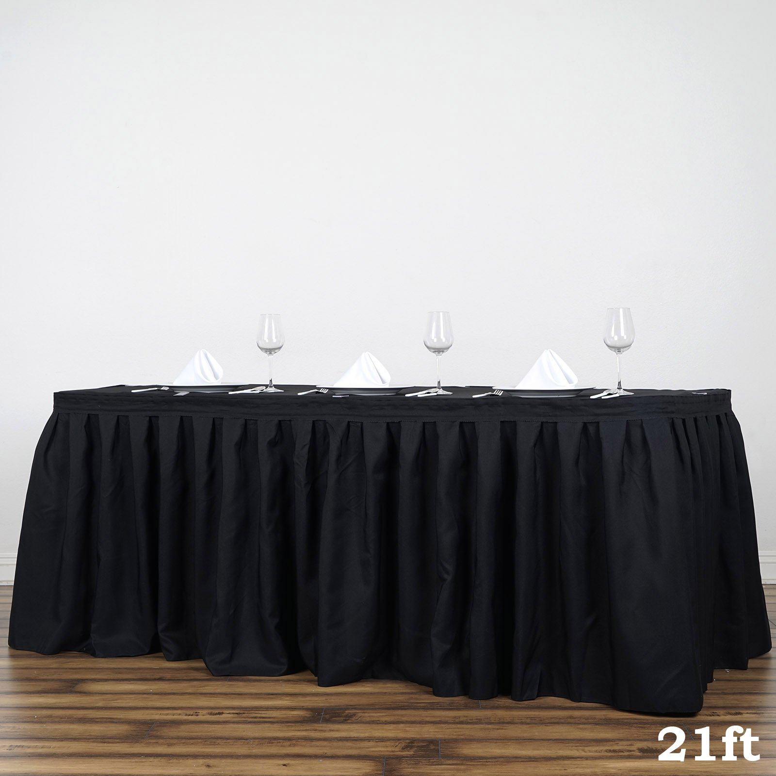 BalsaCircle 21 feet x 29-Inch Black Polyester Banquet Table Skirt Linens Wedding Party Events Decorations Kitchen Dining Catering by BalsaCircle (Image #2)