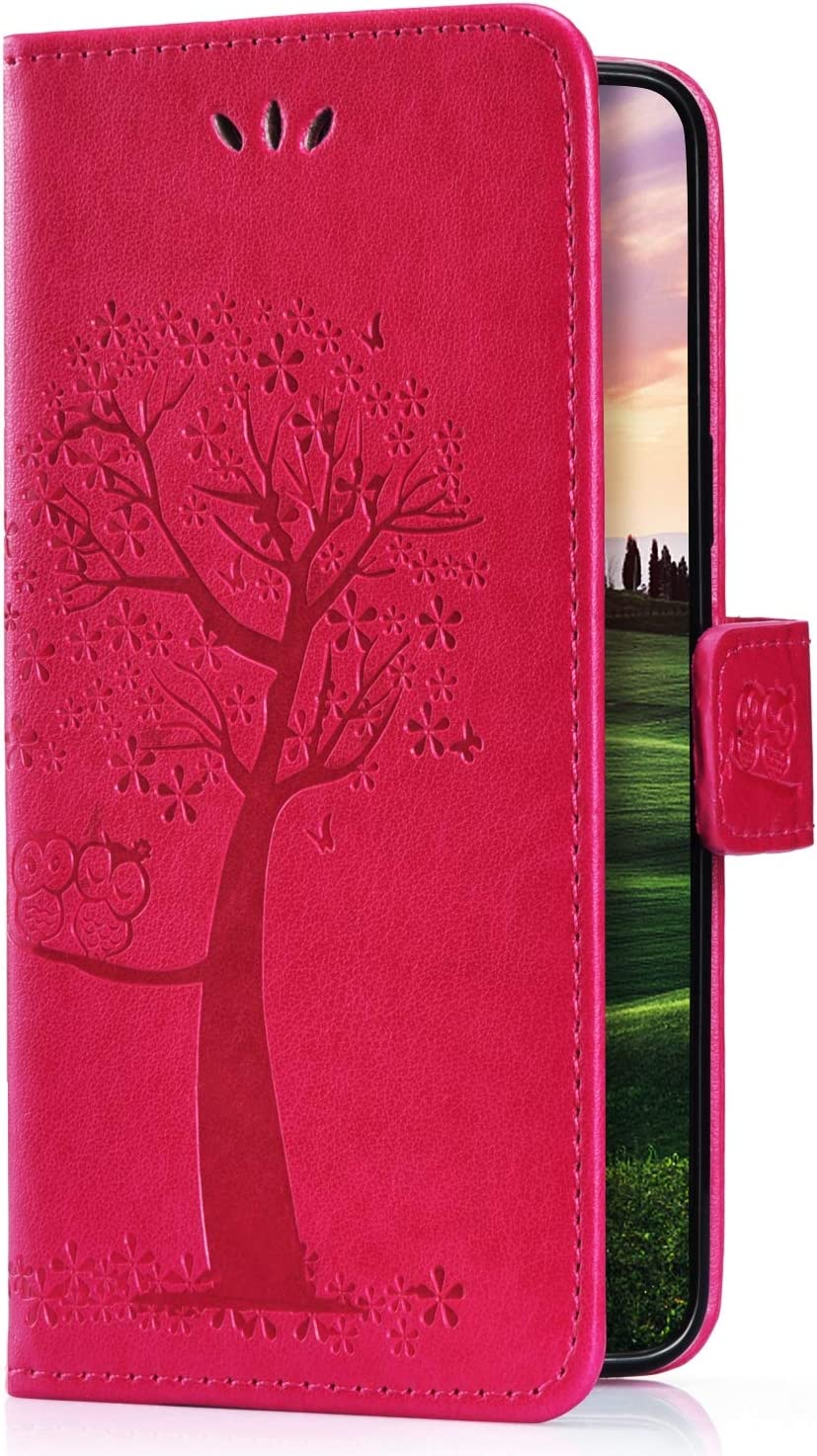 Herbests Compatible with Huawei Y6 2018 Wallet Flip Folio Case Embossed Owl Tree Pattern Retro PU Leather Full Body Protective Stand Cover Credit Card Magnetic Closure Strap,Green