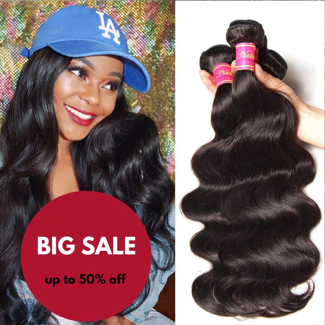 Nadula Hair 8a Best Quality Brazilian Body Wave Virgin Hair Extensions 3 Bundles 14 16 18 Brazilian Wavy Unprocessed Human Hair Weave Natural Color by Nadula