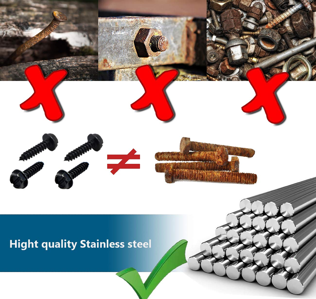 Black CASAON 16pcs License Plate Screws Black Coated Iron Screws for Fastening License Plates