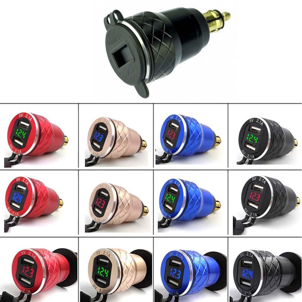 Ranuw Doble USB 4.2/A Cargador DIN Socket LED Volt/ímetro para BMW Triumph Hella Motociclismo