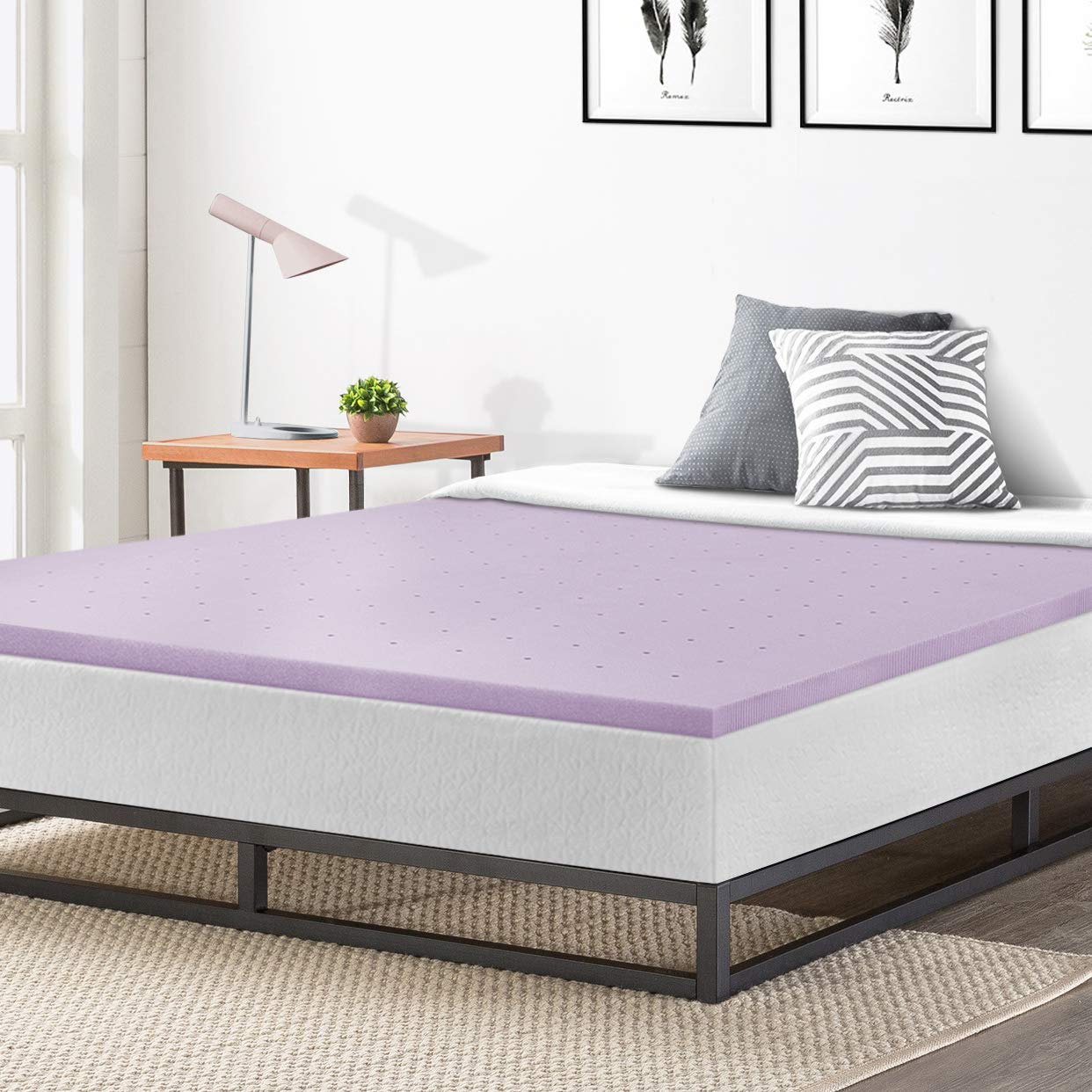 Best Price Mattress Twin Mattress Topper - 1.5 Inch Lavender Infused Memory Foam Bed Topper Cooling Mattress Pad, Twin Size