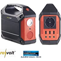 reVolt Solar Generator: Solar-Konverter & Powerbank, 42 Ah, 1x 230 V, je 3X 12 V & USB, 180 W (Akku Solar)