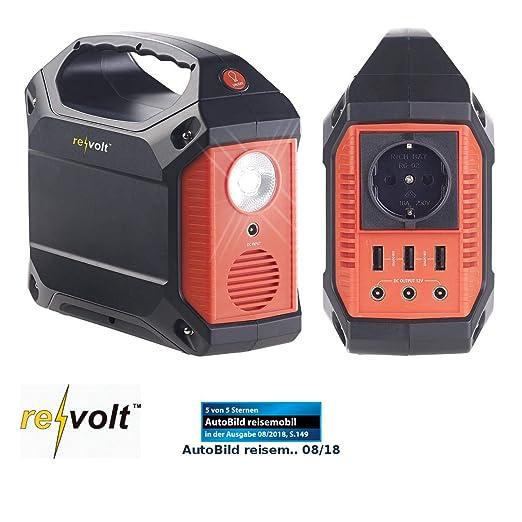 reVolt Powerstation: Solar-Konverter & Powerbank, 42 Ah, 1x 230 V, je 3X 12 V & USB, 180 W (Solar-Generator & Powerbank)