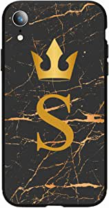 Okteq Case for iPhone XR Shock Absorbing PC TPU Full Body Drop Protection Cover matte printed - Golden S letter black marble By Okteq