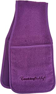 Campanelli's Cooking Buddy Pot Holder - Professional Grade All-in-One Non-Slip Silicone Potholder, Hand Towel, Lid Grip, and Trivet - Heat Resistant up to 500ºF - As Seen On QVC (Purple)