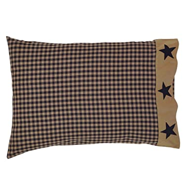 VHC Brands Classic Country Primitive Bedding-Teton Tan Applique Star Border Pillow Case Set, Standard, Dark Khaki