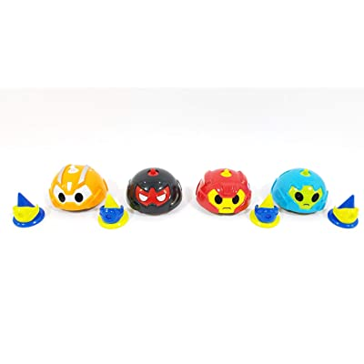 Four (4) Battle Gyro Robot Spinning Cars with Cones and Rings (One Car of Each Color per Order) BB013S: Toys & Games