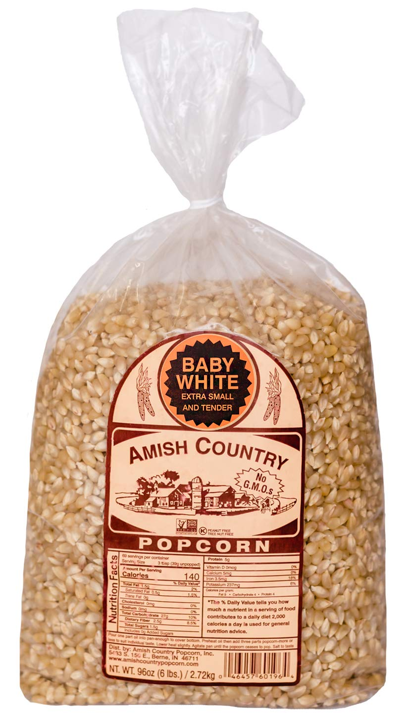 Amish Country Popcorn - Baby White (6 Pound Bag) - Small & Tender Popcorn - Old Fashioned And Delicious with Recipe Guide by Amish Country Popcorn