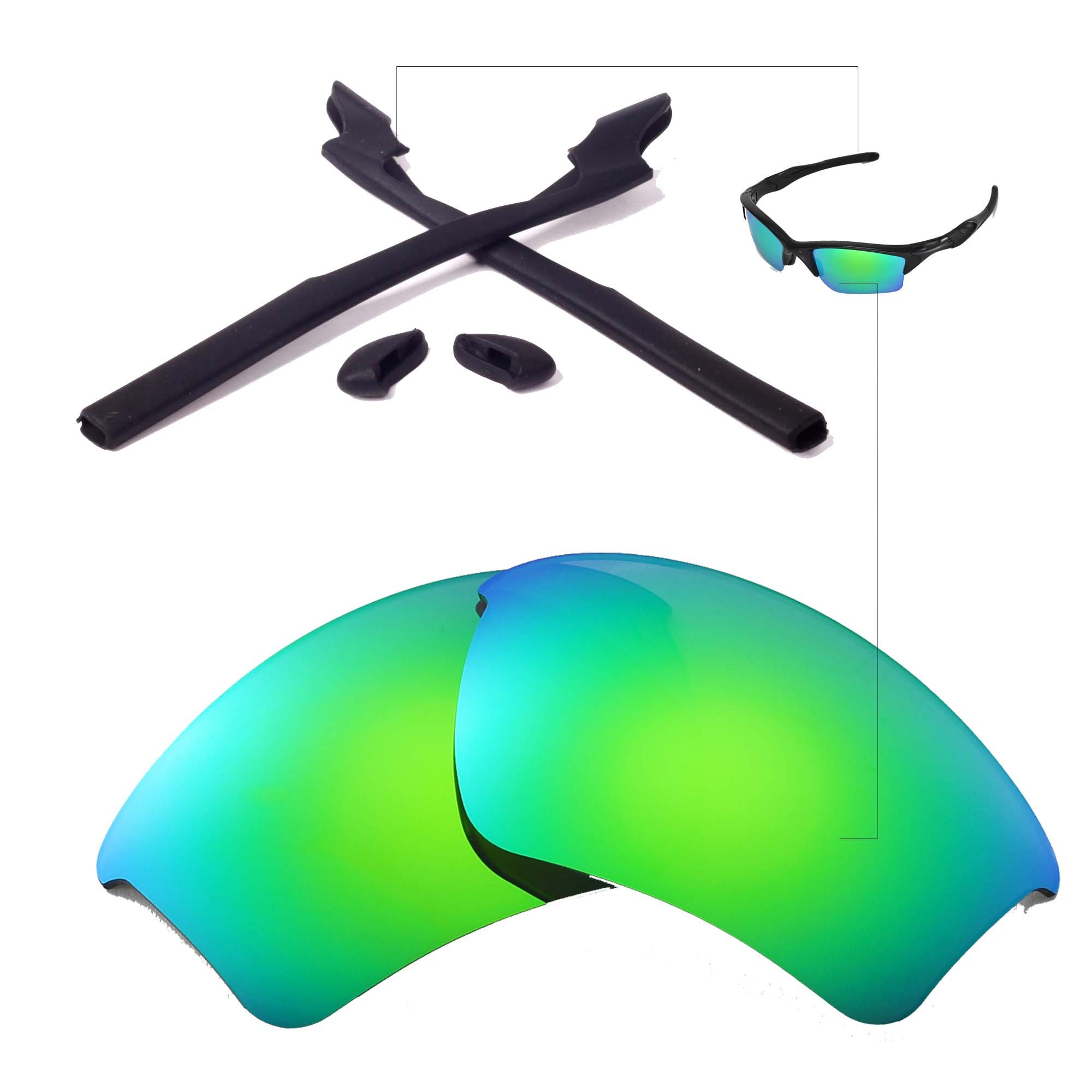 Walleva Replacement Lenses Or Lenses/Rubber for Oakley Half Jacket 2.0 XL Sunglasses - 41 Options (Emerald Polarized lenses + Black Rubber)