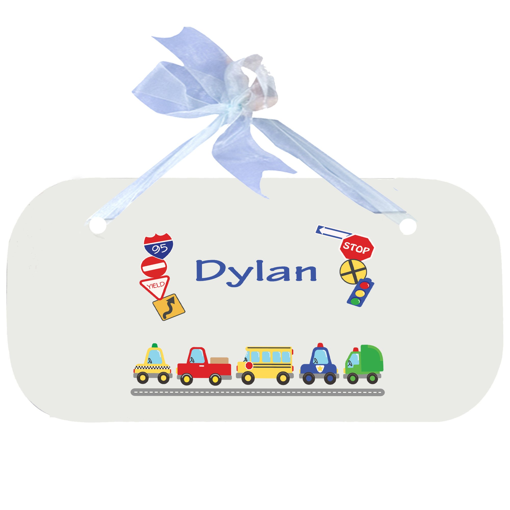 Personalized Cars and Trucks Nursery Door Hanger Plaque with blue ribbon