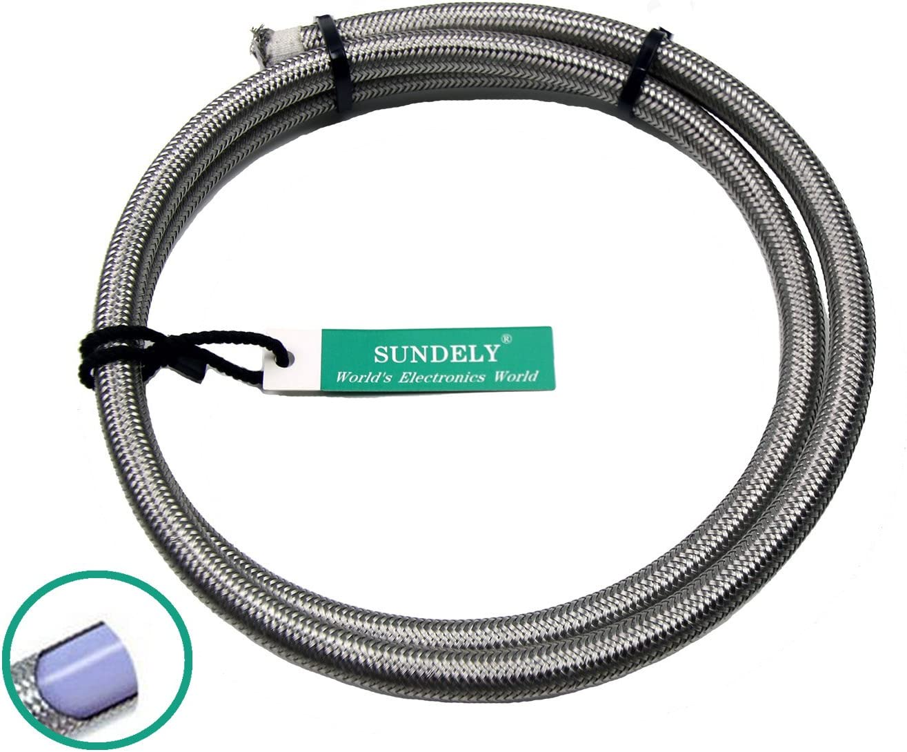 SUNDELY/® Braided Stainless Steel Teflon PTFE Fuel Oil Water Line Hose 10mm X 1m 3.28ft
