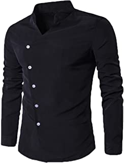 48b0d8584 Modfine Men s Casual Long Sleeve Slim Fit Double-Breasted Button Down  Collar Dress Shirts