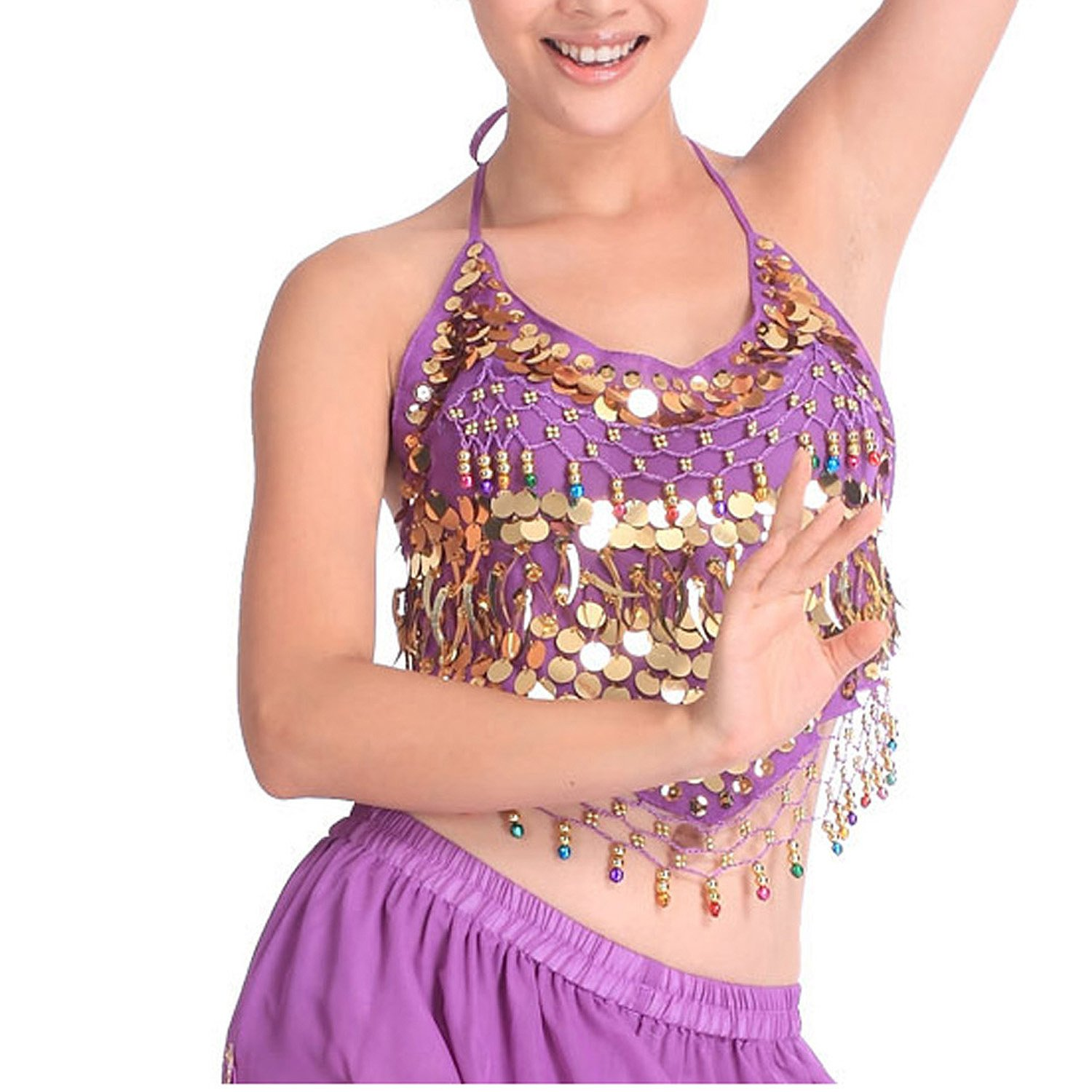 Belly Dance Sequined Bra Top - Purple H:oter R-H-2HSF-1033_Purple