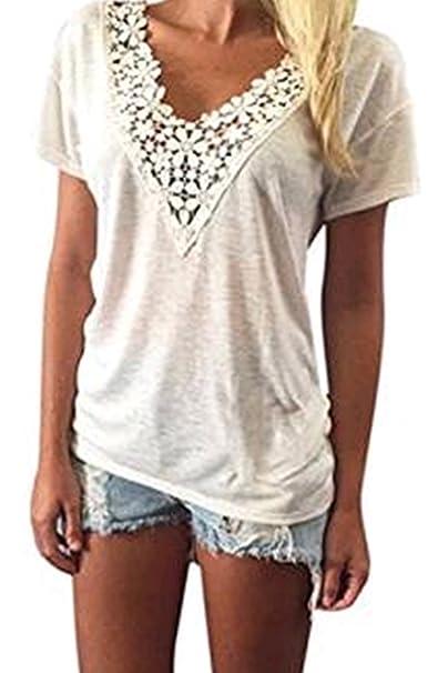 Encaje de verano chaleco Top corto de manga blusa Casual blusas camiseta de las mujeres para