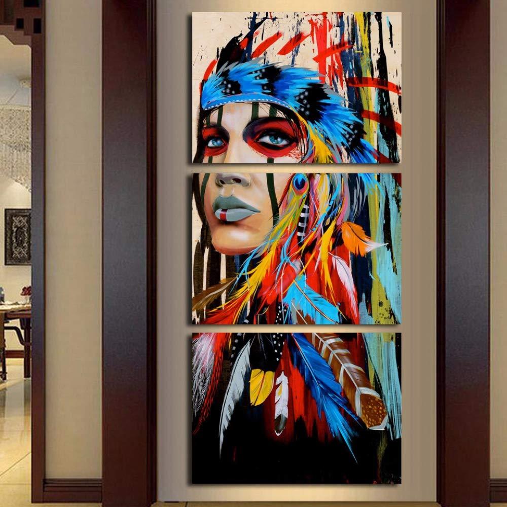 ISAAC ENGLAND Hd Gedruckt 3 Stück Leinwand Kunst Malerei Indianer Mit Feder Dekoration Bilder für Wohnzimmer Poste-L