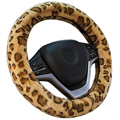 Achiou Universal 15 Inch Steering Wheel Cover Winter, Luxurious Faux Wool Comfortable to Grip Auto Car Wheel Wrap with Leopard Pattern: Automotive