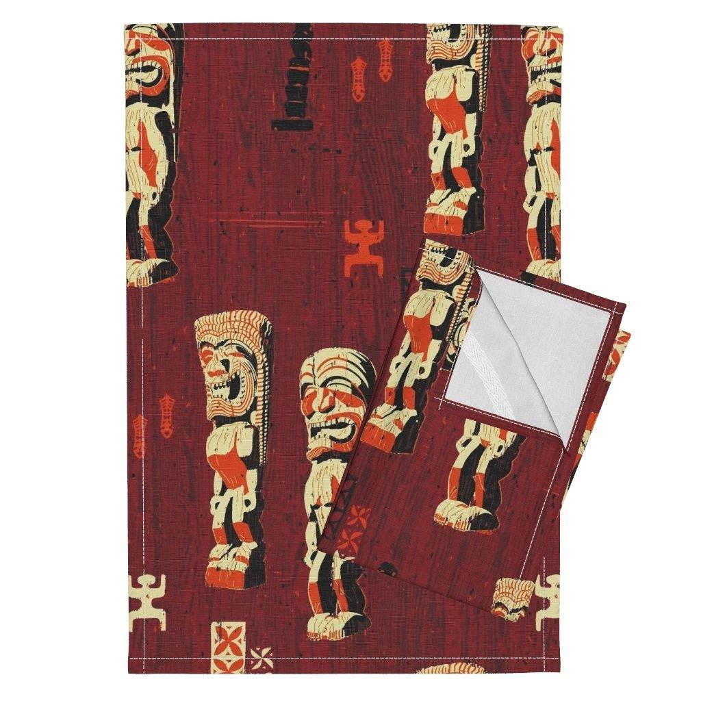 Wood Woodwork Woodshop Tiki Tapa Aloha Hawaii Tea Towels Pu'uhonua O Honaunau 1D by Muhlenkott Set of 2 Linen Cotton Tea Towels
