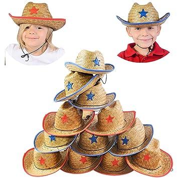 1de254b4c4078 Sombrero de cowboy para niños - 12 paja sombrero de cowboy W Sheriff Badge  - Cowboy partido suministros por Funny sombreros de fiesta  Amazon.es   Juguetes y ...