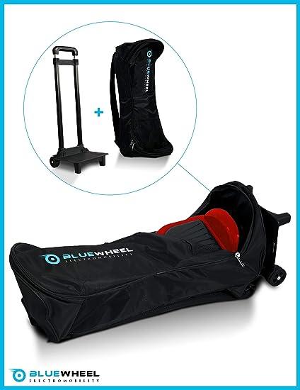 Bolsa de Transporte de Hoverboard - Bluewheel CASE6.5/CASE10 - Trolley con 2 Ruedas, 2 almohadones para la Espalda, asa retráctil y Malla - Repelente ...