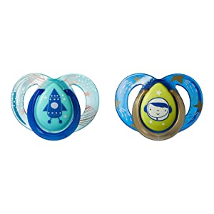 TommeeTippeeCloser to Nature Night Time Orthodontic Infant Soother Pacifier,6-18 Months -2Pack(ColorsMay Vary)