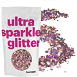 Hemway Rose Gold Holographic Mix Glitter Chunky Multi Purpose Dust Powder Arts & Crafts Wine Glass Decoration Weddings Flowers Cosmetic Face Eye Body Nails Skin Hair Festival 10g
