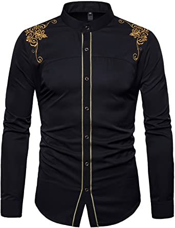 Image result for Whatlees Mens Hipster Casual Slim Fit Long Sleeve Button Down Dress Shirts Tops with Embroidery