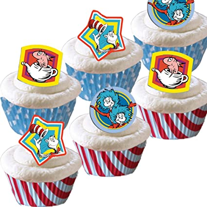 Amazon Com 48 Dr Seuss Cupcake Toppers 48 Baking Cups
