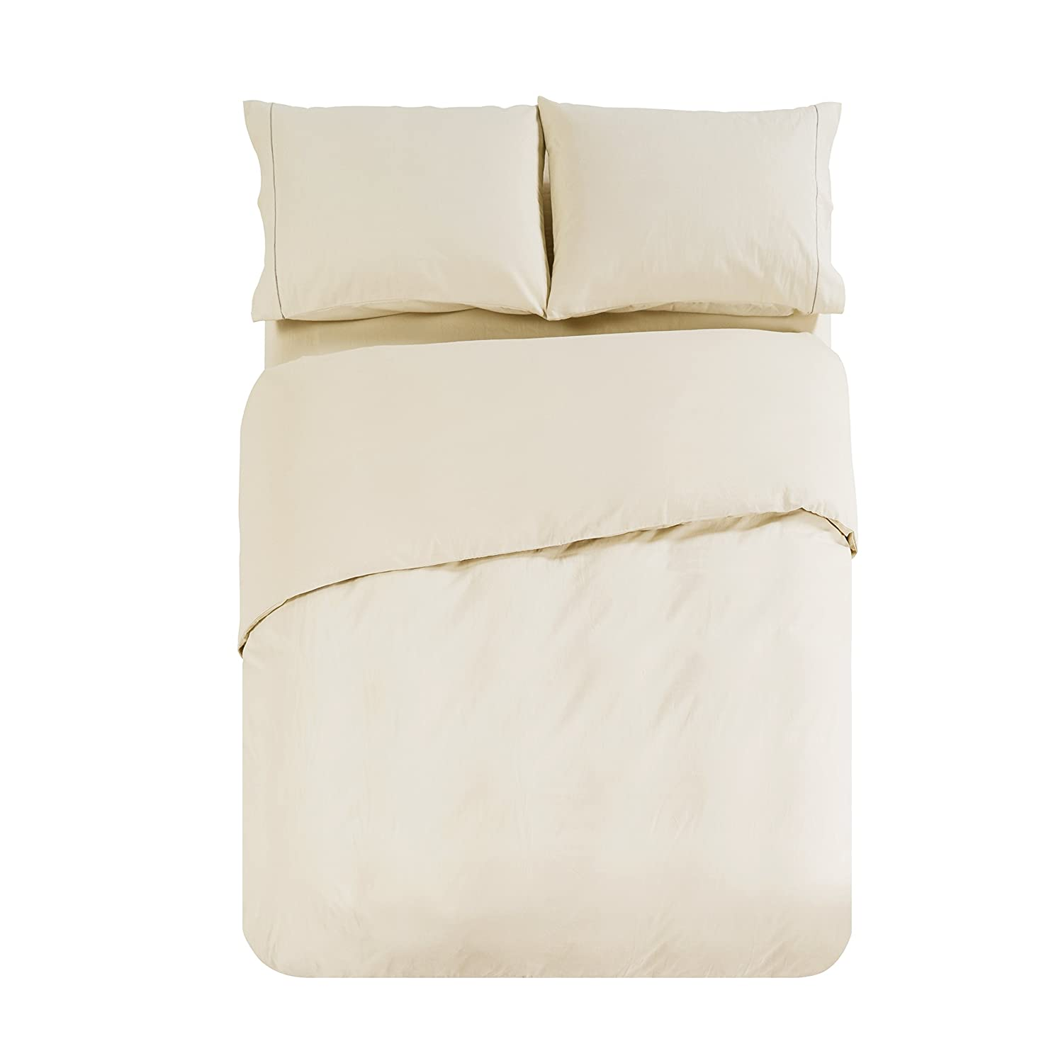 Beige 3 Piece Super Soft Melody House Hotel Quality 100/% Egyptian Cotton Duvet Cover Set Comfortable and Fade Resistant Queen