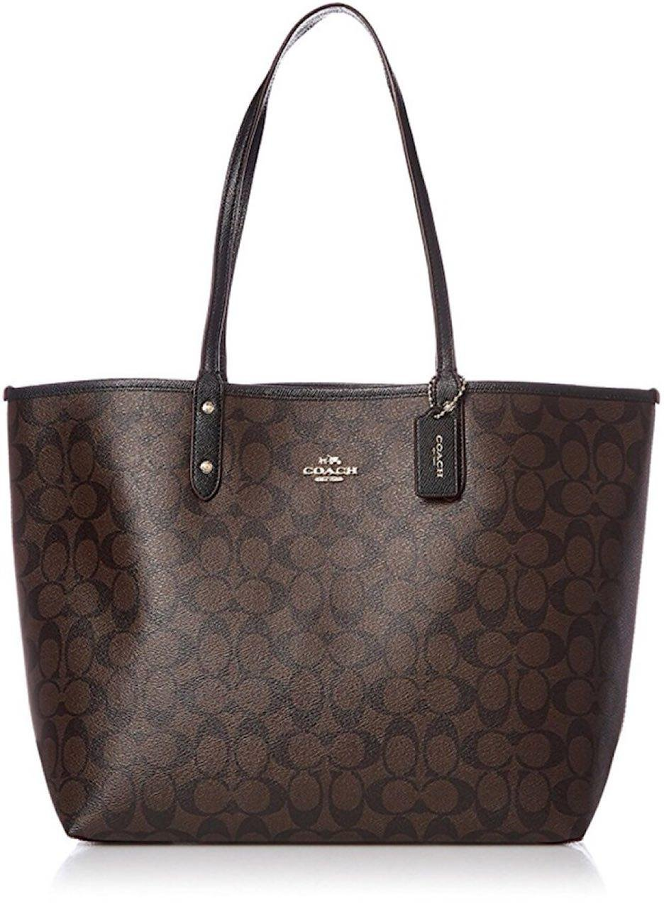 Coach F36658 Reversible PVC City Signature Tote, Im/Brown/Black, Large
