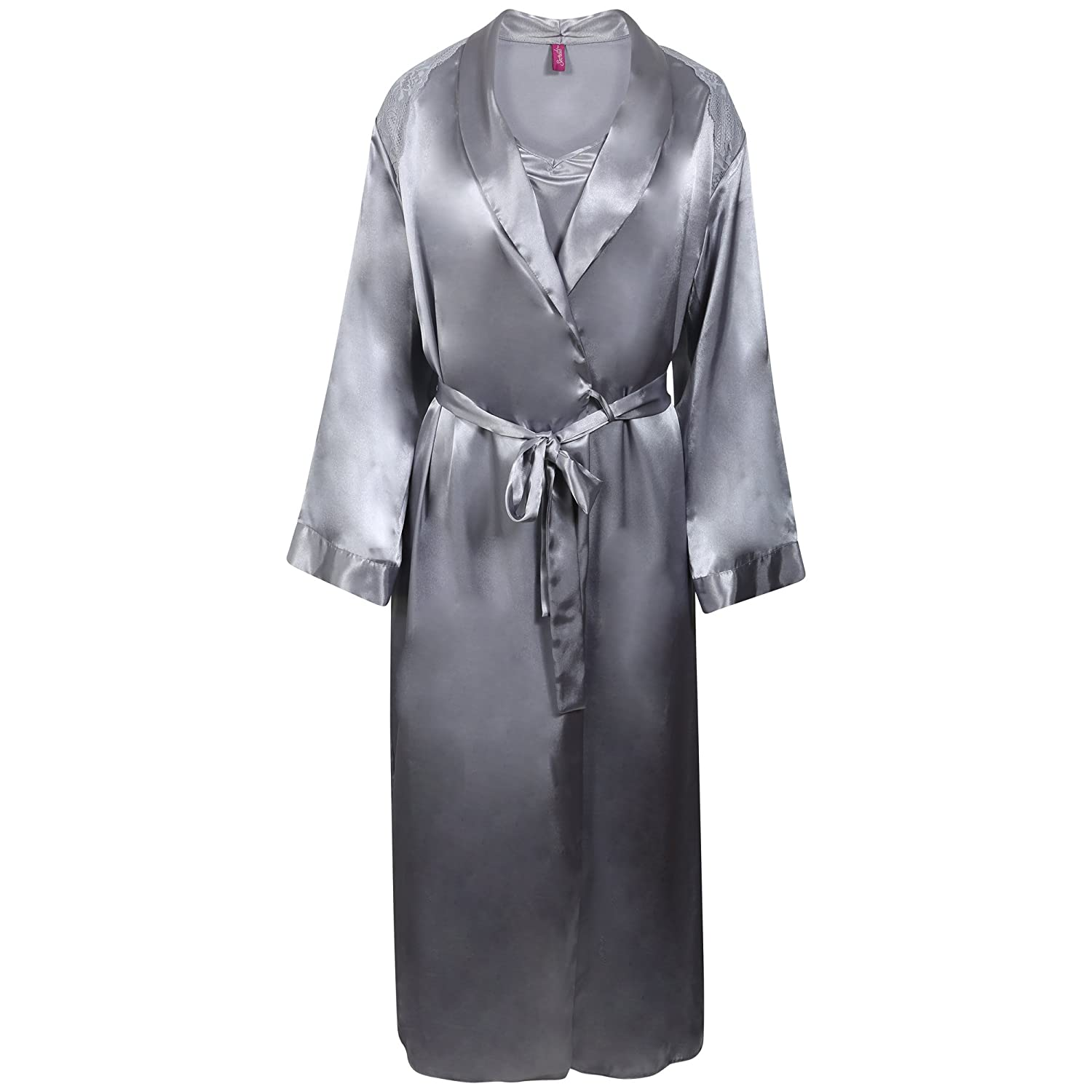 Ladies BHS Long Silver Grey Satin Chemise and Negligee Set. Sizes 10 ...