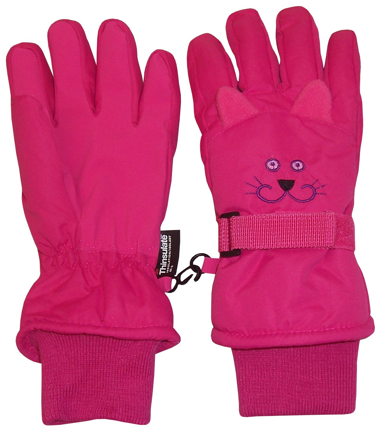 N'Ice Caps Kids Cute Animal Faces Cold Weather Thinsulate Waterproof Gloves (Kitty - Fuchsia 1, 4-5 Years)