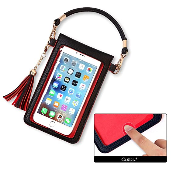 reputable site ab550 ccd5e LKZAIY PU Leather Crossbody Bag Mini Phone Pouch with Shoulder Strap for  iPhone 8,8 Plus,8 X, 7 Plus, 6S Plus, 6 Plus, 7, 6S, Samsung Note 8,S8, S7  ...