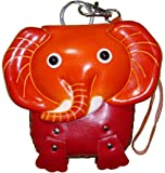Elephant Face Cover, Leather Wristlet Mini Bag, Change/coin Purse,Jewelry Holder