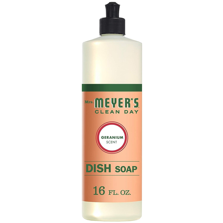Mrs. Meyer's Clean Day Liquid Dish Soap, Cruelty Free Formula, Geranium Scent, 16 oz