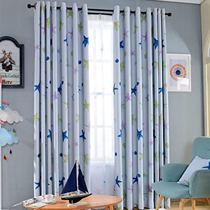 Nibesser 85% Blackout Curtains For Boys Room Darkening Thermal Insulated Blackout  Drapes Starfish Print Grommet