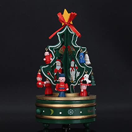 Amazon Com Katoot Wooden Christmas Tree Rotating Music Box