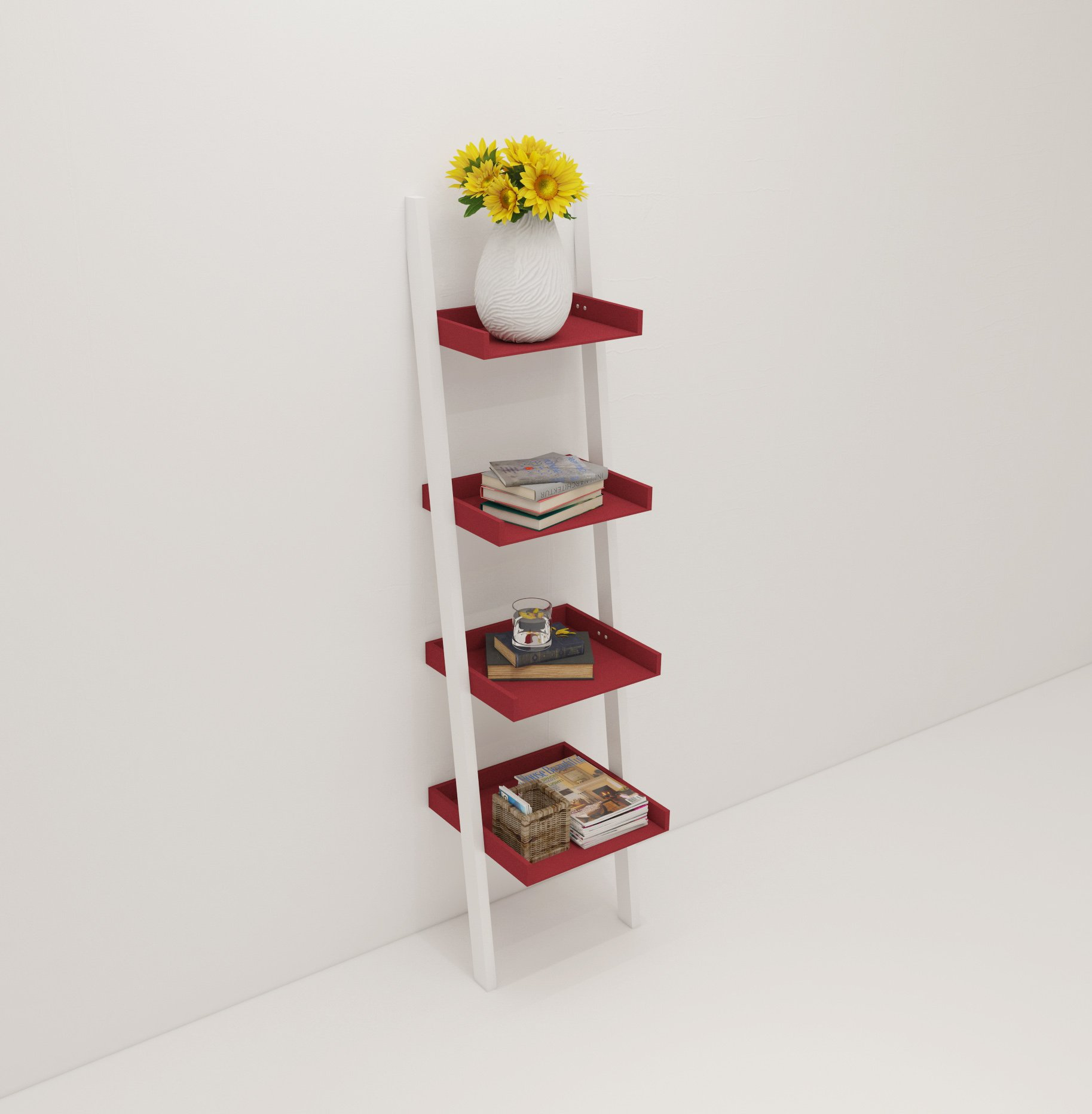 "Amayo Home 4 Tier Bookcase White Ladder Shelf Unit Display Shelves Storage Shelving Leaning Bookshelf in White and Red Cherry Color. Sturdy, Modern & Multi Use for Any Rooms Indoor - MODERN, FUNCTIONAL, STABLE - This beautiful ladder bookshelf will instantly add a modern aesthetic to any space in your home. Featuring a wide base, this shelf is not only functional, but incredibly stable. QUALITY MATERIALS - Made from solid wood, this shelf is scratch resistant, stain resistant and built to last. Holds up to 11lbs on each tier. 4 STURDY SHELVES - 4 large, tiered shelves are the perfect place for books, plants, home decor, clothes or toys. Each shelf holds up to 11lbs & has a depth from 8.5"" to 14.4"". - living-room-furniture, living-room, bookcases-bookshelves - 71on4wNGrJL -"