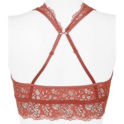62daea02983f9 ... Youmita Hosanna World Floral Lace Racerback Unpadded Bralette Top Sheer  Bustier Crop Wireless Lingerie Bra (