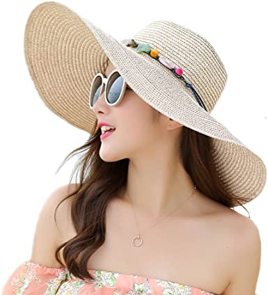 Adrinfly Women Floppy Sun Hat Foldable Wide Brim Adjustable Beach Straw  Accessories Cap UPF 50+ at Amazon Women's Clothing store