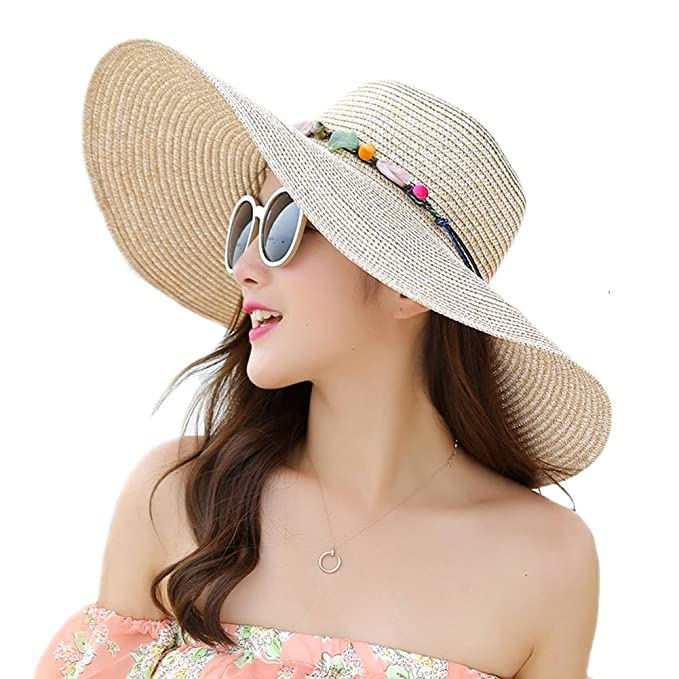 Adrinfly Women Floppy Sun Hat Foldable Wide Brim Adjustable Beach Straw  Accessories Cap UPF 50+ b1f6a864b50