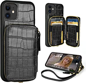 iPhone 11 Wallet Case,ZVE iPhone 11 Case with Credit Card Holder,Zipper Wallet Case with Wrist Strap Protective Purse Leather Case Cover for Apple iPhone 11 6.1 inch - Crocodile Skin Pattern Black