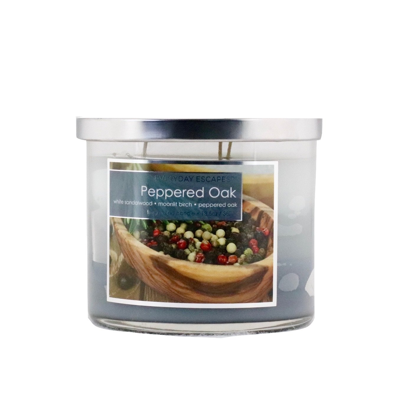 Everyday Escapes by MVP Group Scented Tri-layer Triple Wicks Candle 13.5 oz -Peppered Oak White Sandalwood/Moonlit Birch/Peppered Oak